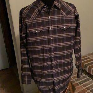 Ely Cattleman Tall Man western pearl snap shirt L